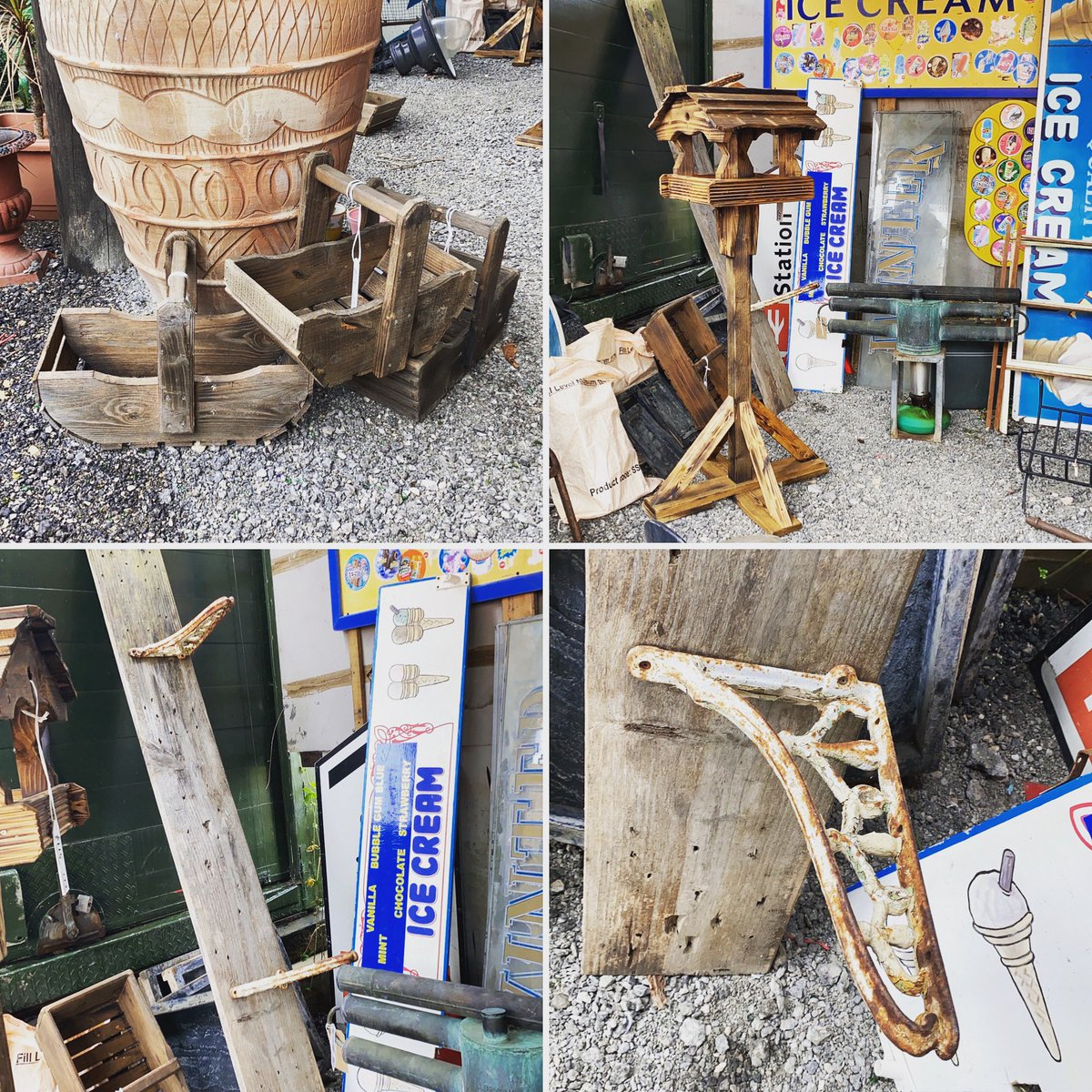 More new stock outside in our salvage yard. #gardenstatues #birdhouses #salvage #signs #wheels #trugs #pots #galvanized #gardensofinstagram #outdoors #outsidespaces #crates #astraantiquescentre #hemswell #lincolnshire Open 10-5 https://t.co/xQeTji1dSw