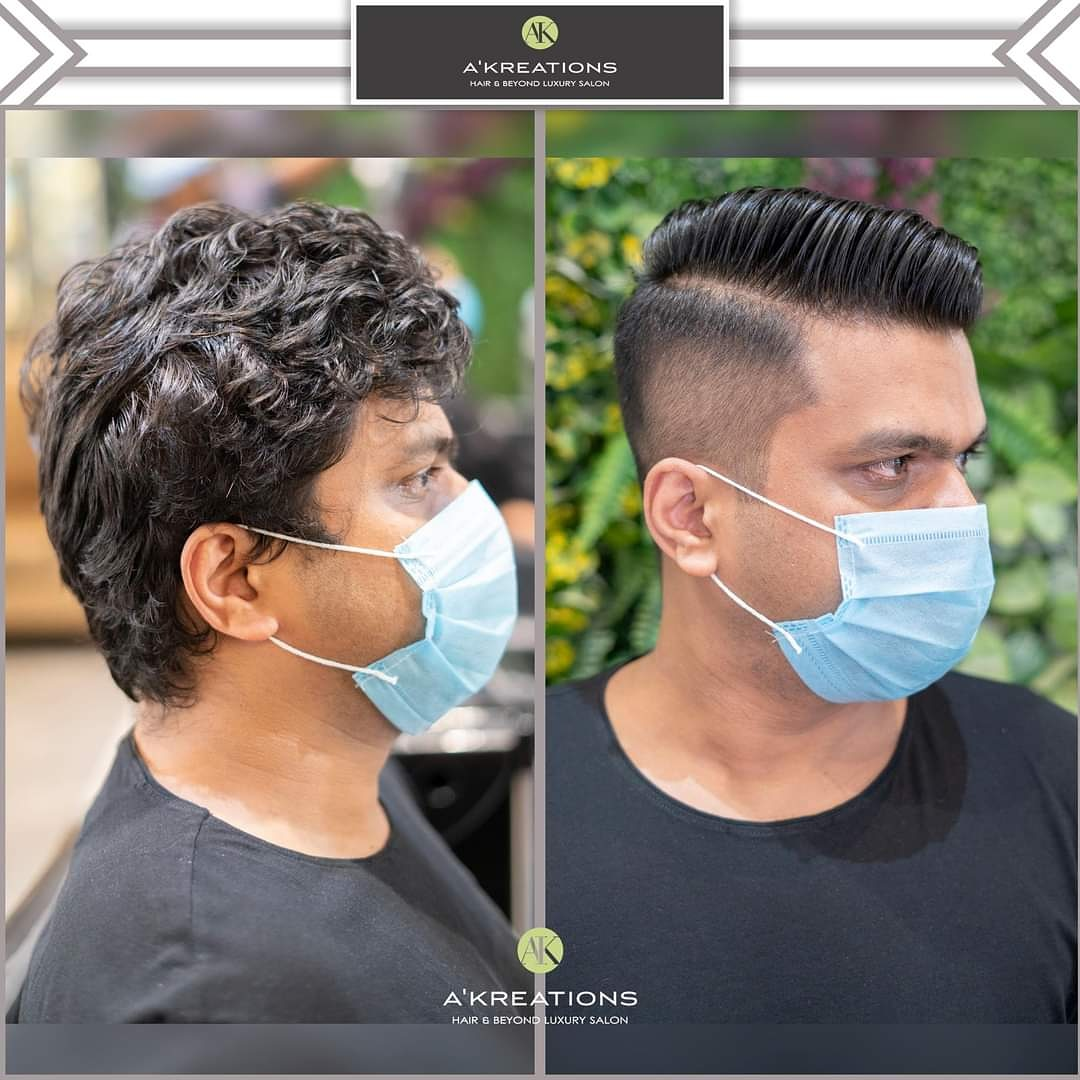 Side Parted Temple Fade.  Haircut & Styling By Stylist Rayban Khan. At @AKreationsIndia.  Contact us on 7208999911 or 8976228999. Valet parking available.  #LuxurySalon #AkreationsIndia #Safety #Precautions #Covid-19 #Hygiene #FaceMask #ClientSafety #CoronaPrecautions https://t.co/1u5ahk9qK5