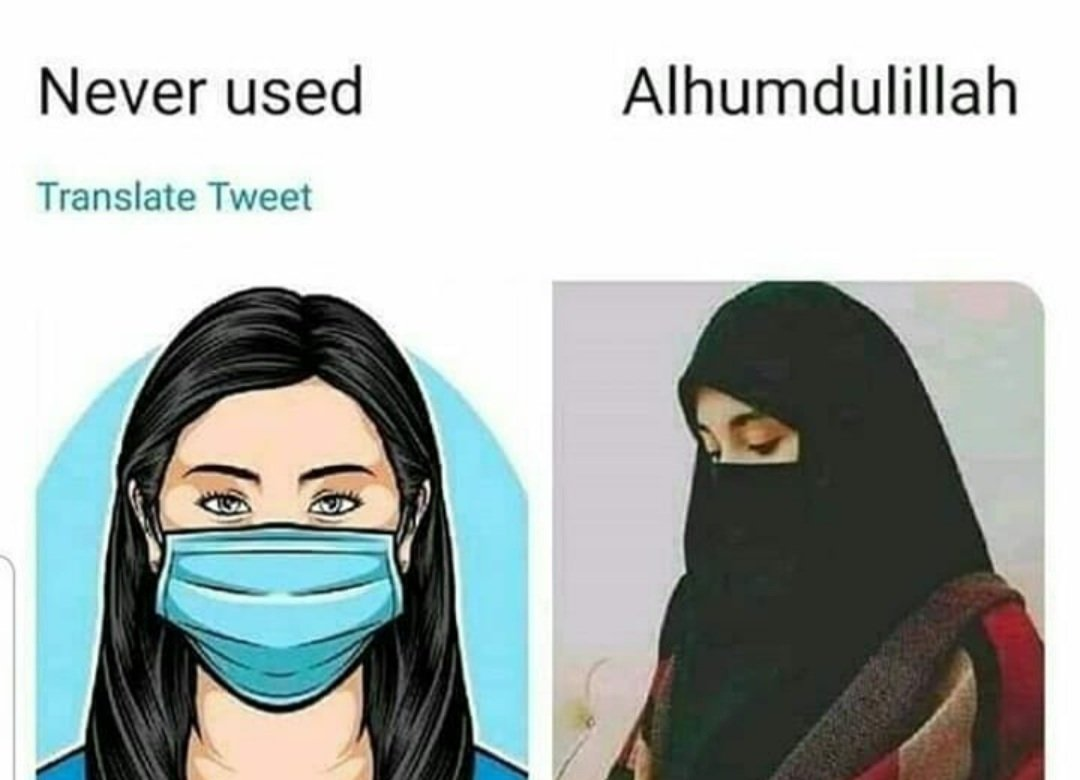 Non Muslims are now securing their self wearing masks Now its compulsory to wear mask in crowd. By the command of Allah we wearing Niqaab since 1400 years ago  #nonmuslims #Muslims #Muslims_are_one #MuslimTwitter https://t.co/eOQVyhtkId