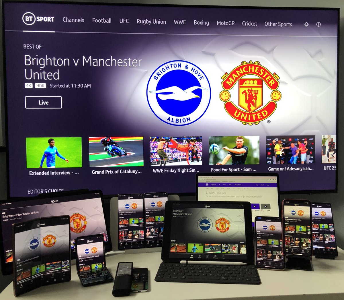 Bumper weekend starts with BT Sport Ultimate on more devices #SportsBiz #SportsTech #PL #PremierLeague #BHAMUN #MUFC #BHAFC #UHD #4K #HDR https://t.co/xzm0cFL3ri