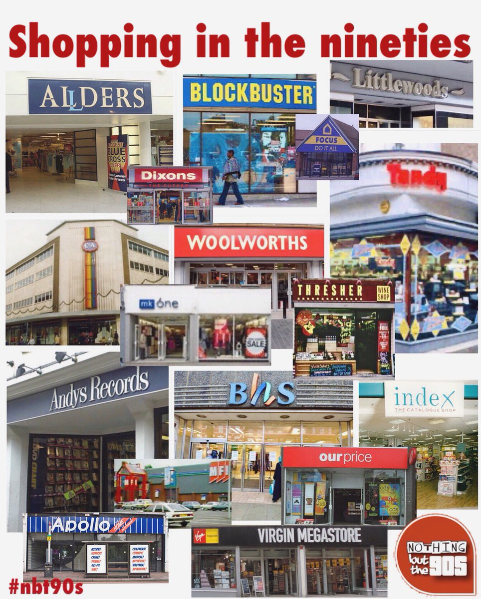 Just popping into town, does anyone want anything?   #shoppinginthenineties #90sshops #nbt90s #tandy #woolworths #mfi #ourprice #virginmegastore #allders #dixons #andysrecords #littlewoods #blockbustervideo #apollovideo #mkone #canda #thresher #focusdiy #bhs #bringbackthe90s https://t.co/2XqboESV2v
