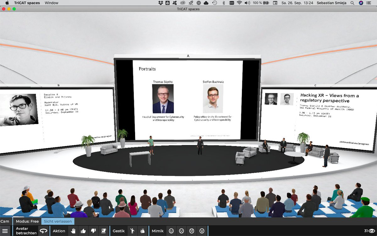 """Live on the stage: Thomas Süptitz & Steffen Buchholz from @BMG_Bund together with @kentbye @XRSIdotorg @neuroastics and @Secureworks on the topic """"#ethics and #privacy"""" #ShiftMedical2020 #VirtualReality #AugmentedReality #DigitalHealth #MedicalXR https://t.co/DUdq9reC6W"""