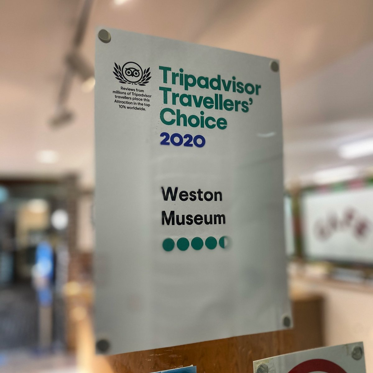 We are pleased to announce that we have received our 2020 Traveller's Choice Award from Tripadvisor!   #WestonMuseum #TellYourFriends #FreeAdmission #Tripadvisor #TravellersChoice #HighlyRecommended #GlowingReviews https://t.co/LQswDIpgBW