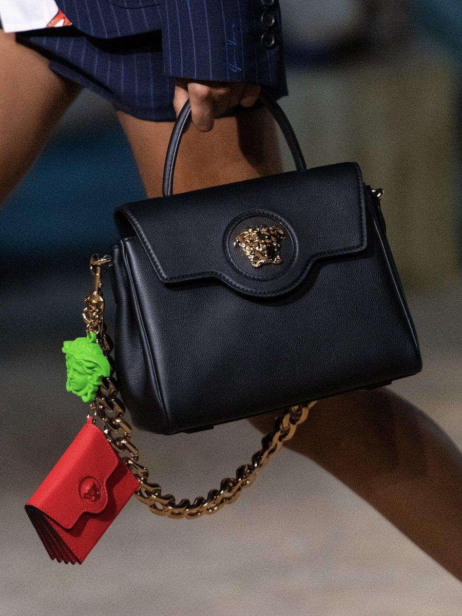 La Medusa Trident emblem a new handbag line introduced this season boasts the mythical ruler of #Versacepolis. #VersaceLaMedusa #MFW  Explore #VersaceSS21: