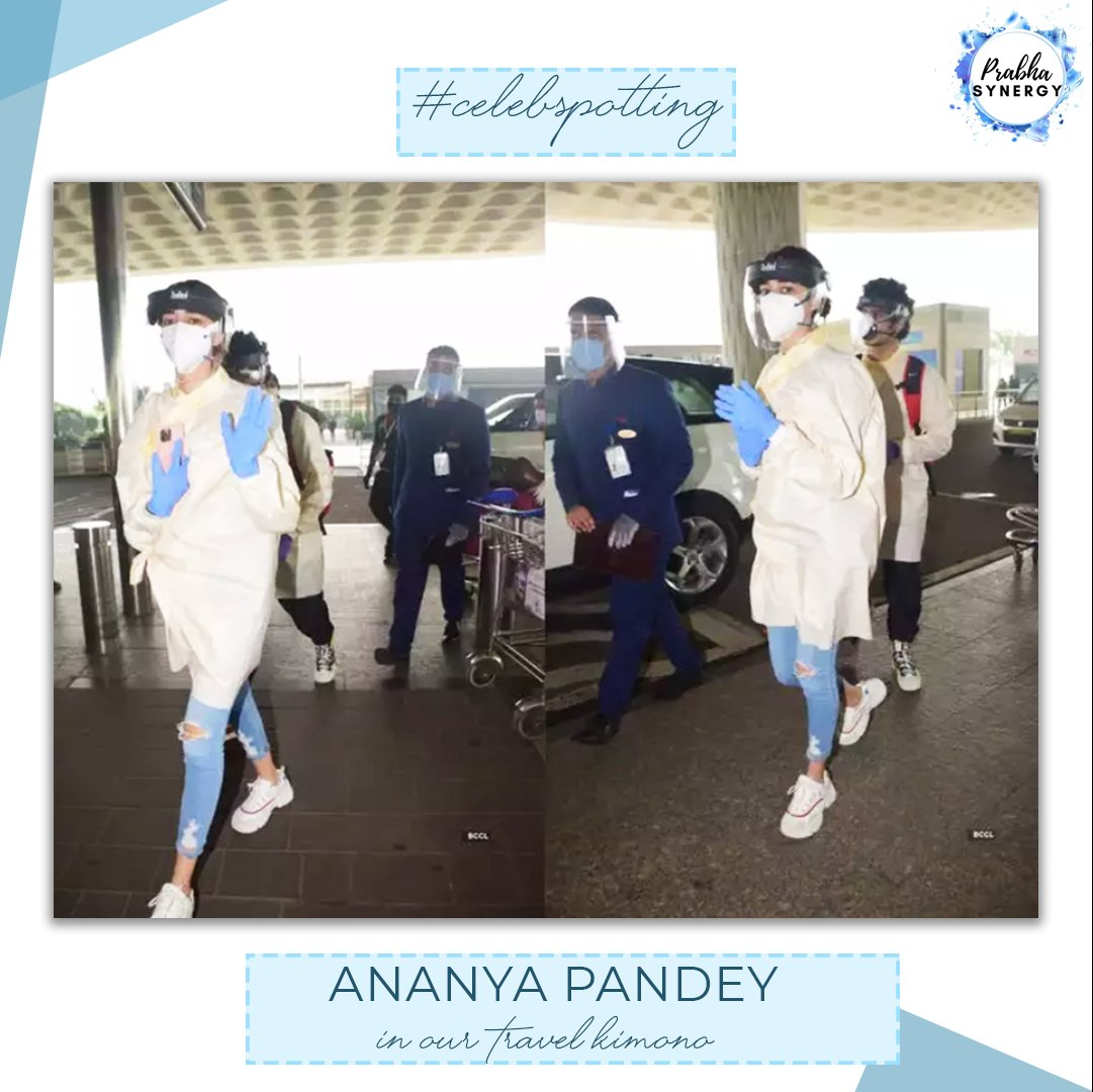 Actress Ananya Pandey captured in our Travel Kimono at the Airport. 💜✨✈️ DM us or Whatsapp on +91 98201 15700 to order yours now!  #travelsafe #newnormal #travelkit #covidtravelkit #covidkimono #kimonoprotection #covidprotection #AnanyaPandey #bollywood #btown #bollywoodnews https://t.co/2Ehe4dtBE2