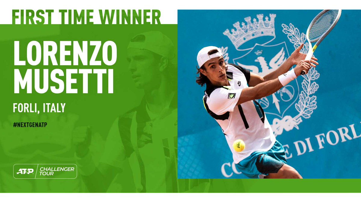 CHAMPION 🙌  Lorenzo Musetti captures his first #ATPChallenger 🏆 in Forli 🇮🇹. Congrats, Lore! https://t.co/NBiNioSNFy