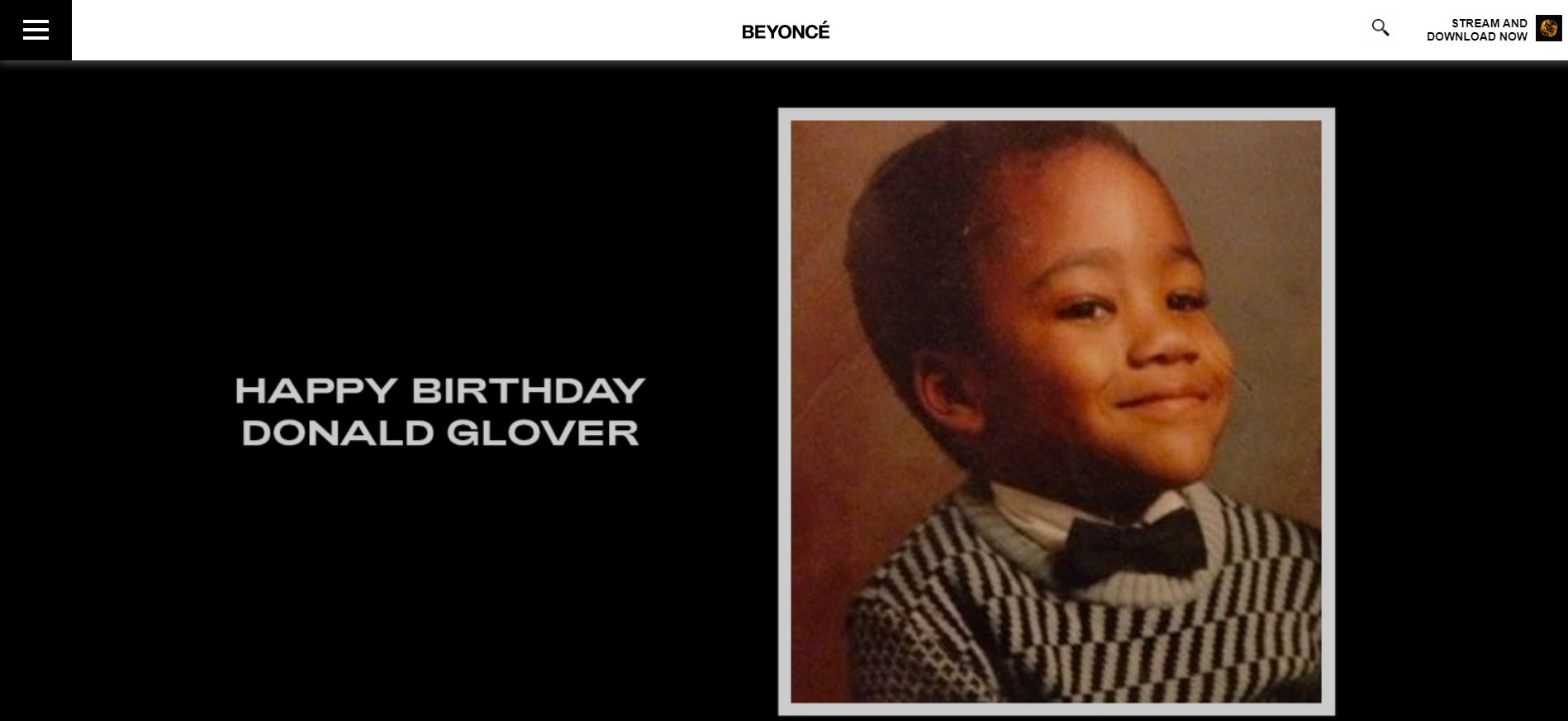 Beyonce wishing our boy a happy birthday on her website