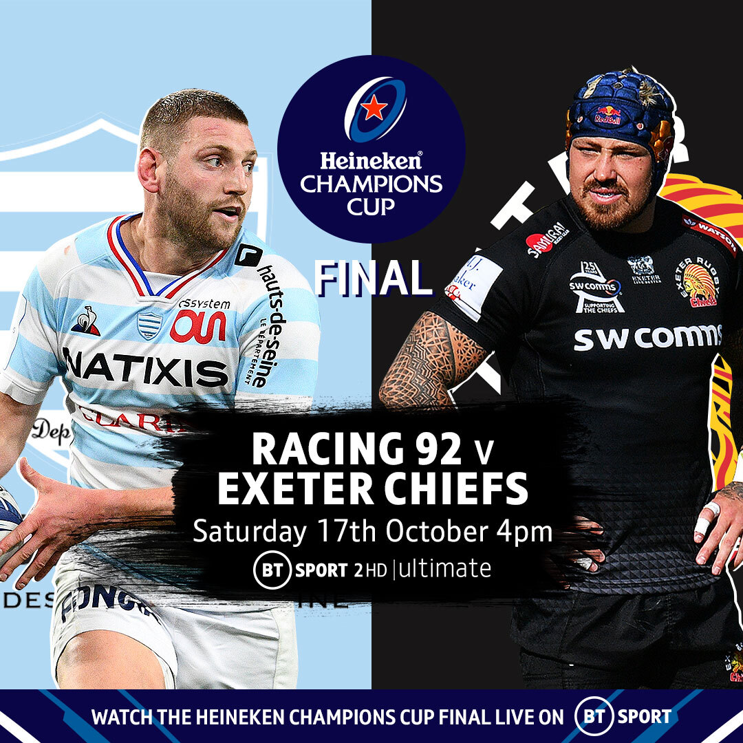 test Twitter Media - The 2019/20 #HeinekenChampionsCup final is set! 🏆  🇫🇷 Racing 92 v Exeter Chiefs 🏴  Someone is about to win their first European honour...  Saturday 17th October   4pm   BT Sport 2 HD & Ultimate https://t.co/mz1qn2Thsb