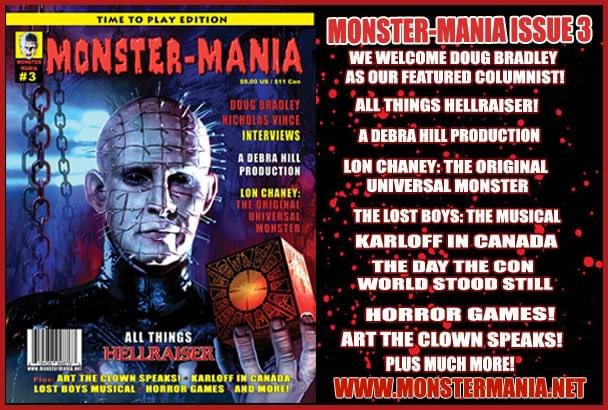 MONSTER-MANIA MAGAZINE IS BACK! 64 pages Interviews with and @RealDougBradley & @nicholas_vince #Hellraiser #Halloween #LostBoys #LonChaney #BorisKarloff #Terrifier #Munsters #AddamsFamily   Special discount price only $8  https://t.co/BstMJaxEdR https://t.co/uGqnIwJcCU