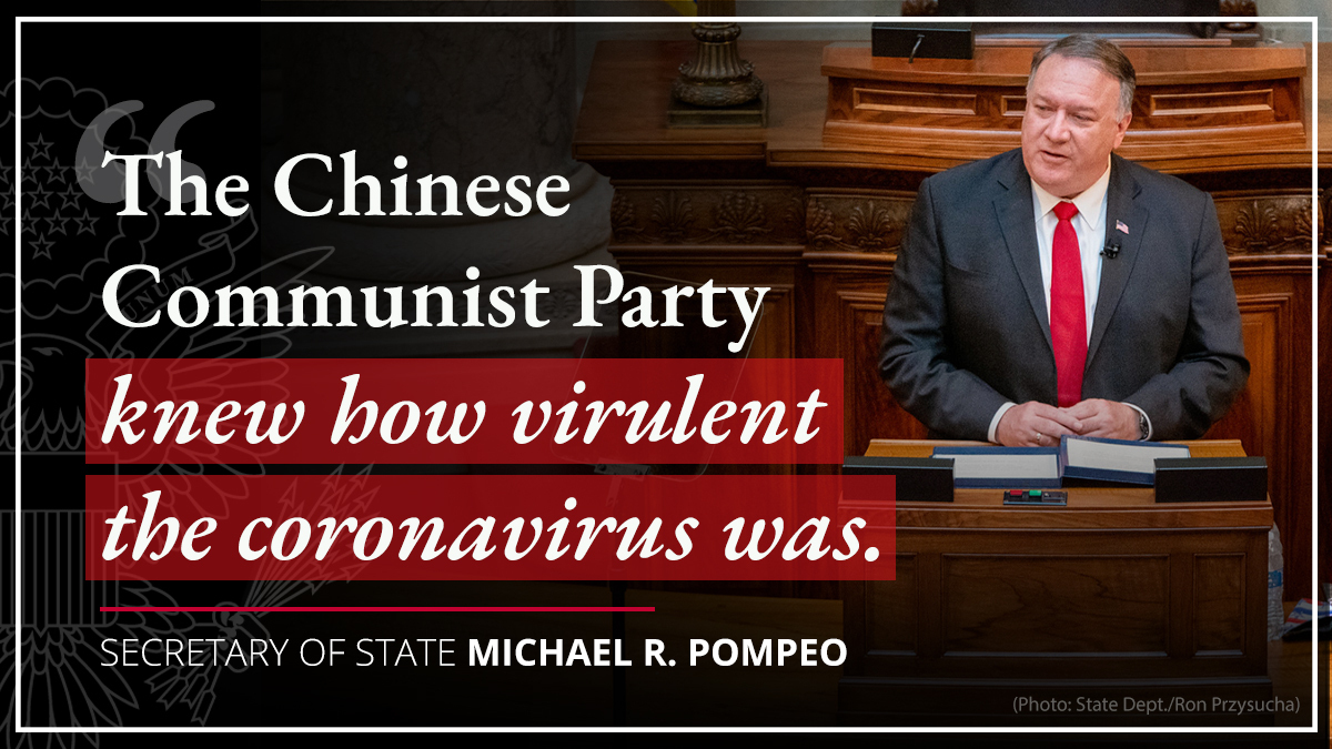 The Chinese Communist Party knew how virulent the coronavirus was. They censored and disappeared whistleblowers and journalists who tried to sound the alarm. The CCP is the culprit for a global pandemic that's killed more than 200,000 Americans – and nearly 1M people worldwide. https://t.co/PJ2YhaZba6