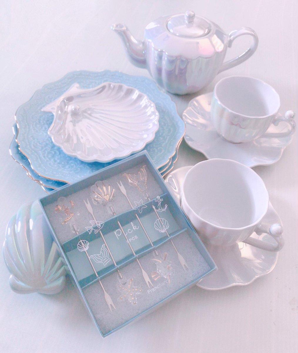 海モチーフの食器がめちゃくちゃ可愛くて素敵な衝動買いしてしまった〜〜🐚