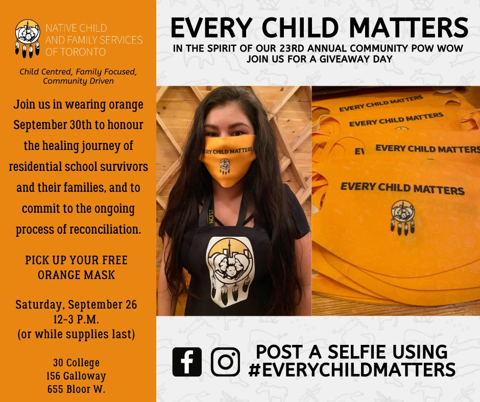 ➡️FREE ORANGE CLOTH MASKS !😷*while supplies last* #OrangeShirtDay is on September 30th and honours the survivors of residential schools. Please pick up your mask TODAY during the Community Pow Wow Giveaway Day and take a pic on Sept 30th🤳with: #EveryChildMatters #NCFST https://t.co/aEkD2MX17w
