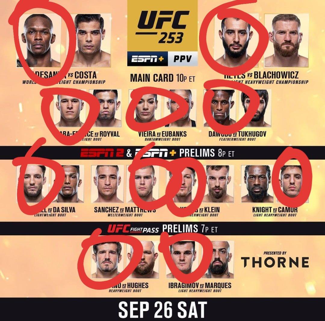 UFC 253 Thread:  Here Are My Fight Picks 👇🏽  #UFC253 #UFCFightIsland #MMA #UFC #UFCOnESPN #ESPNplus https://t.co/XtZD3wVMMz