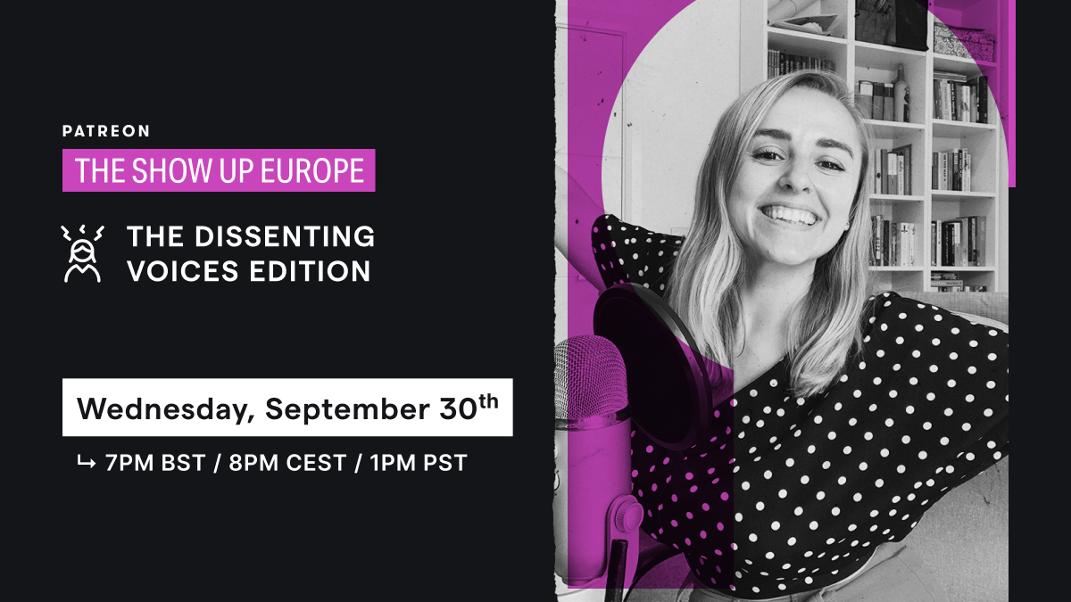 Join us next week for the very first European edition of #TheShowUp where we'll connect with @hannahwitton @GuiltFemPod & @thewhitepube aka Dissenting Voices leveraging new communication channels to shake up mainstream narratives.   SIGN UP → https://t.co/OhWIJSh6J7 https://t.co/crOaIFoVRI