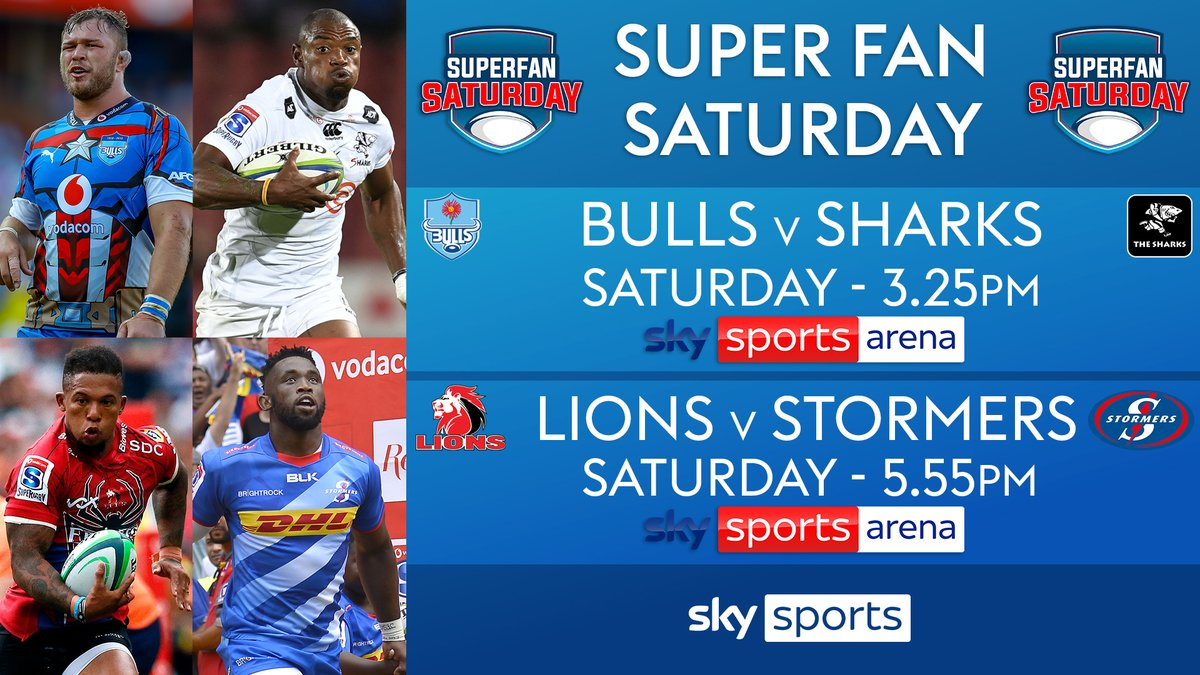 test Twitter Media - It's #SuperFanSaturday in South Africa... 🇿🇦  The first game of the double header in Pretoria is live now on Sky Sports Arena as the Bulls 🐂 face the Sharks 🦈 https://t.co/dsjczOnD3P