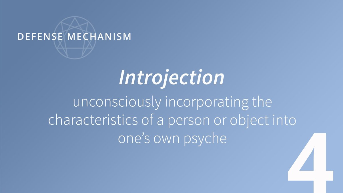 Introjection – unconsciously incorporating the characteristics of a person or object into one's own psyche  Fours use introjection to avoid ordinariness and maintain a self-image of being authentic. #tne #enneaworld #enneagram #thenarrativeenneagram #defensemechanism #enneagram4 https://t.co/5gVD8xDwWB