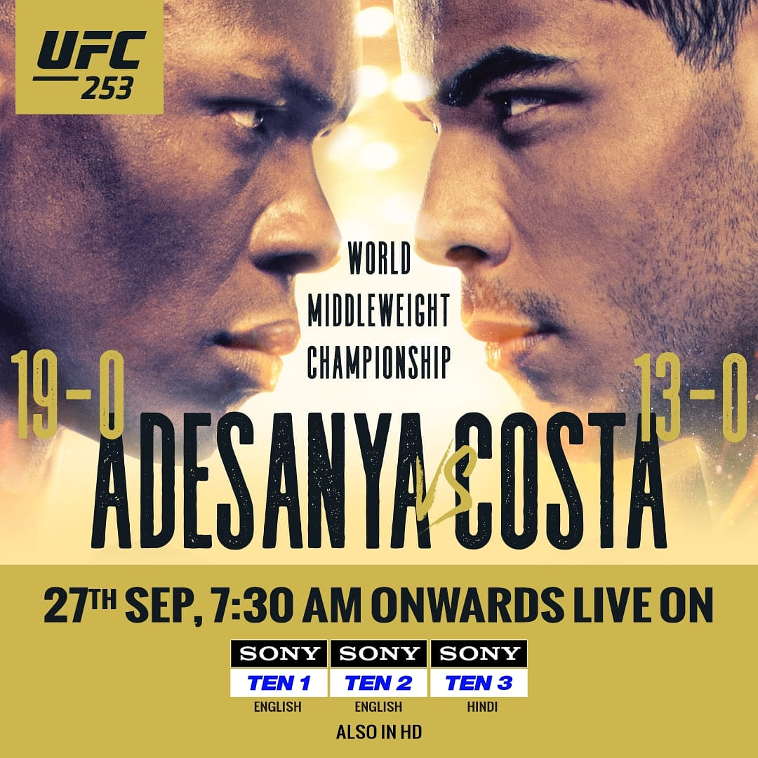 2⃣ invincible warriors + 1⃣ UFC title + 1⃣ FIGHT ISLAND 🏝 = Barn-burning action 🔥👊🏻  Don't miss out on any action from #UFC253, only on  📺 Sony TEN 1 (ENG), Sony TEN 2 (ENG), Sony TEN 3 (HIN) ⌛ 7:30 AM  #SonySports #SirfSonyParDikhega #UFC #MMA #Adesanya #Costa #AdesanyaCosta https://t.co/hUSkID0pV9