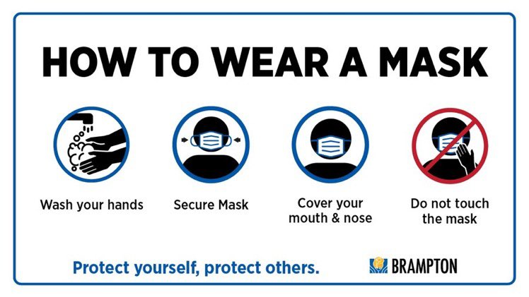 Remember: A mask is only effective if worn properly. Please make sure that your non-medical mask covers your mouth, chin and nose. 😷  For more guidance on staying safe and helping stop the spread of #COVID19, follow @regionofpeel https://t.co/HCfgmshuRQ