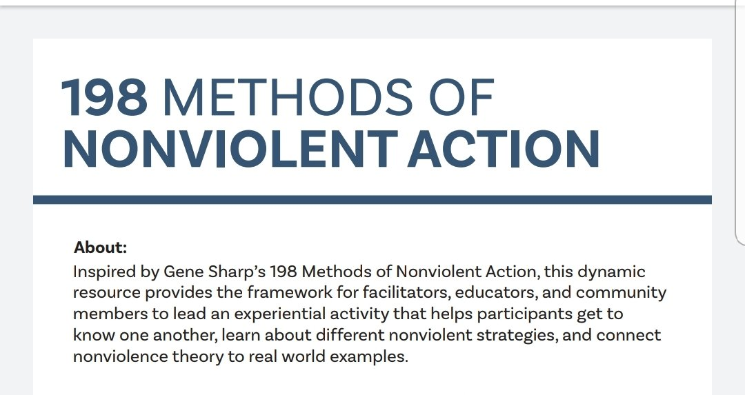 1. When people call leaders to provide leadership (call for action), it doesn't mean DEMOSTRATIONS only. There are several non-violent methods that are even more effective than demos. Gene Sharp here presents 198 of such methods which can be adapted to the Zim context https://t.co/ytLirS81R6