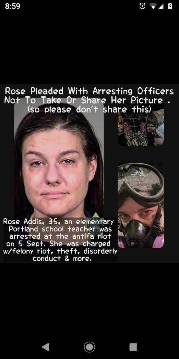 Lol #AntifaTerrorist #RoseAddis pleaded with #PortlandPolice not to share her picture, not because she was sorry but because she's an #ElementarySchool teacher, teaching Your Young Children! She's dangerous and shouldn't be allowed near Children again! Share it further folks! https://t.co/e4VazJtJm0 https://t.co/w9twv1swoU