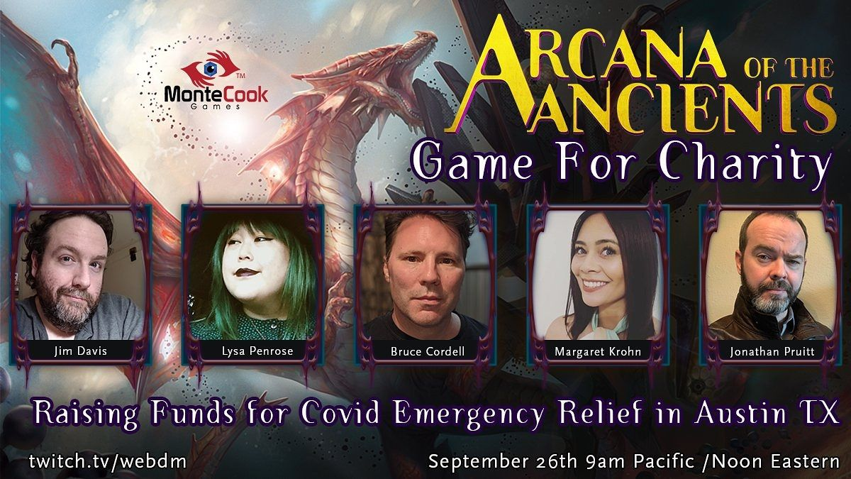 We're one hour away from our #charity game for Covid Relief in ATX!  Join us for #dnd in @therealjimdavis' beloved setting, Land Between Two Rivers, with @BruceCordell @jpruinc @lysapenrose and @MargaretKrohn  while we raise funds with @montecookgames!  https://t.co/IQ8Juz5ywH https://t.co/T640BwjTdS