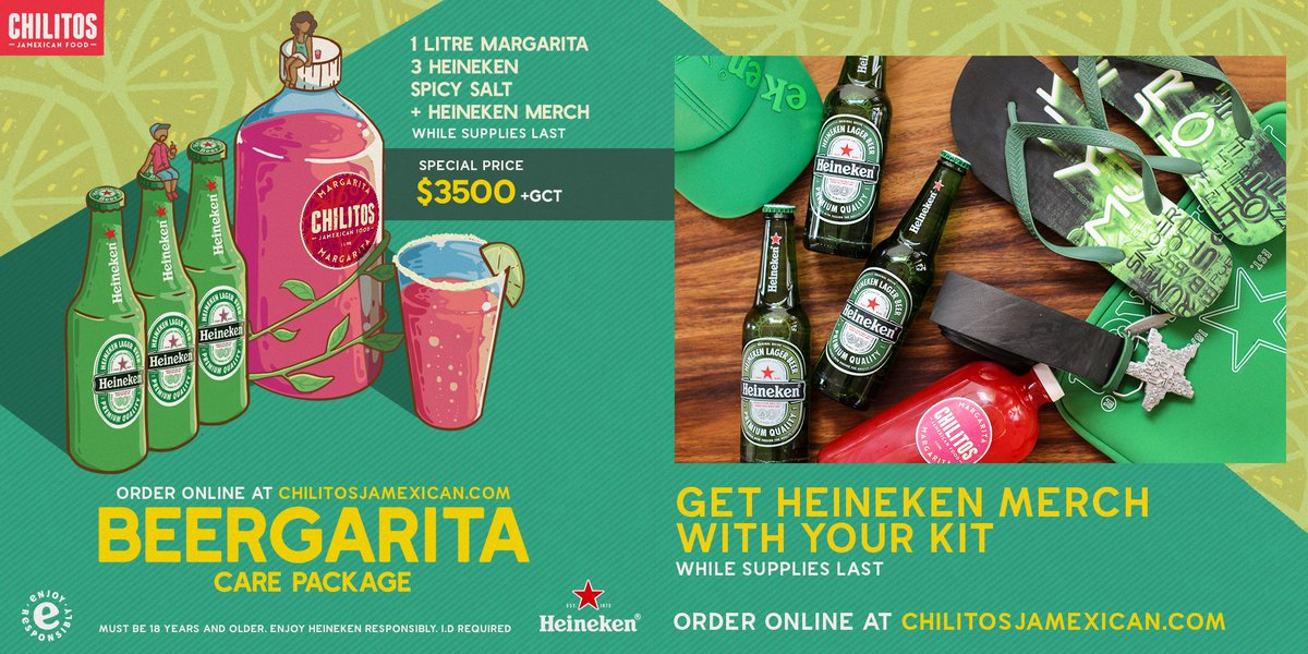 Usually $3500+tax gets you a litre of your favourite Margarita. But we've teamed up with @Heineken_JA to add bonus 3 FREE Heineken AND Heineken merch for the same price! We'll even throw in some Spicy Salt so you can feel fancy while you assemble your Beergarita. https://t.co/7GkzE4Eepb