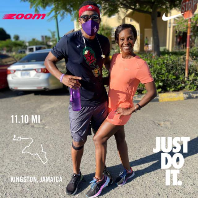 Saturday Stretch 11 mile run on @Queenieko signature challenging route! Good inclines both ways!  The sun came up early and hot!! #RunningApartTogether #werunjamaica #jamaicamoves #pacersrunning #milechasers #justdoit #onelove #neveryield https://t.co/up1VbabIMq