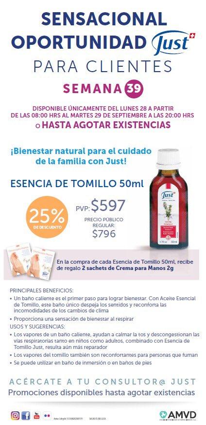 Promoción solo lunes y martes: #esencia de #tomillo ideal para mitigar la #tos.  Úsalo en baño de tina, baño de pies, #masaje, inhalaciones, #digusor.  https://t.co/WoTRkwoS1M   #swissjust #swissjustmexico #hidroterapia #aromaterapia #bienestar https://t.co/04gNZLdWuP