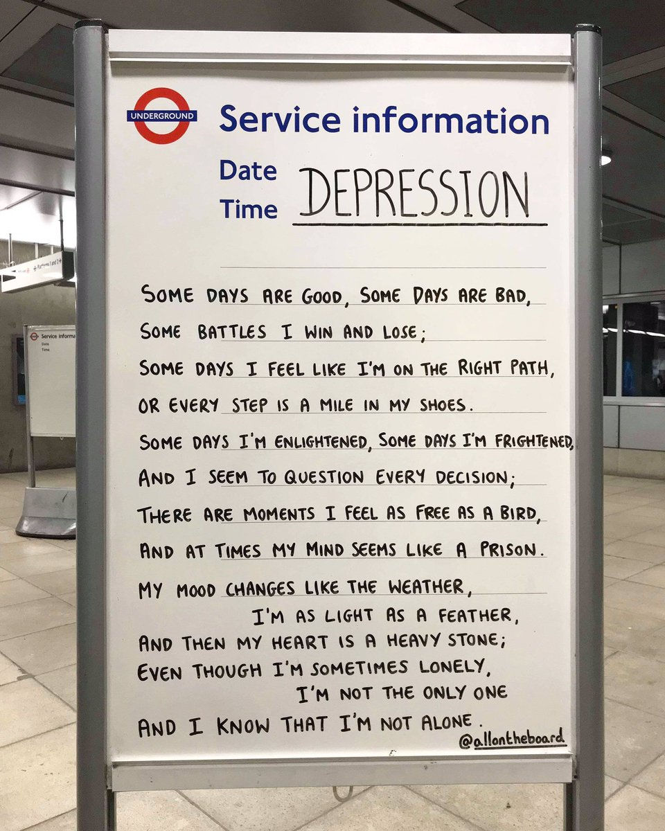 If you're struggling with depression there are people and organisations you can talk to and also suicide hotlines you can call any time of day, wherever you are in the world. You are not alone. @allontheboard   #Depression #MentalHealth #MentalHealthMatters #YouMatter https://t.co/w9pAr0VdKA