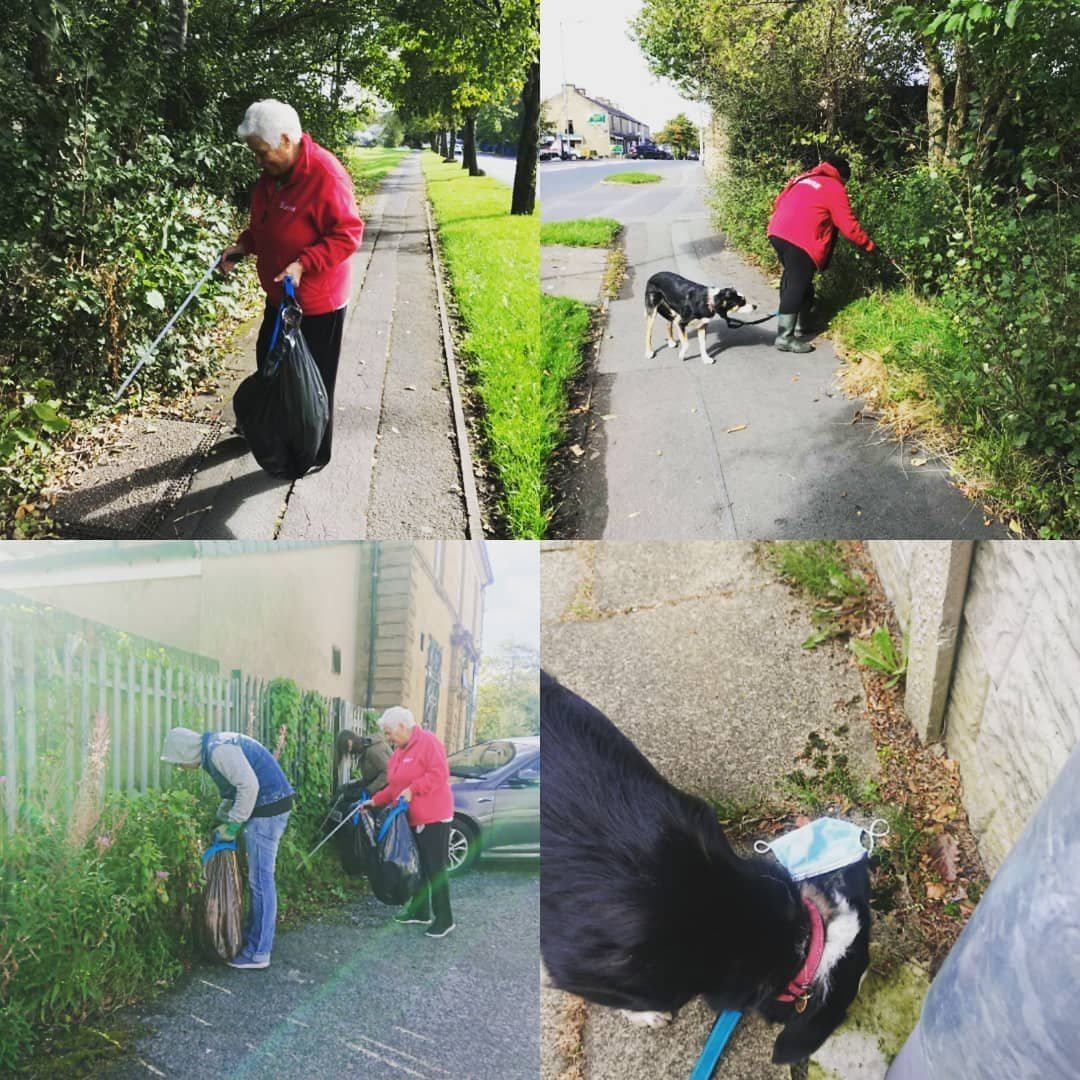 Was so nice to see #friends #facetoface again out #litterpicking pick in #Rosegrove  Councillor Bea Foster, @Alun_Lewis1 and @gailbarton ... And of course #Shep who came along for the #dogwalk. https://t.co/WgApaBcZLM