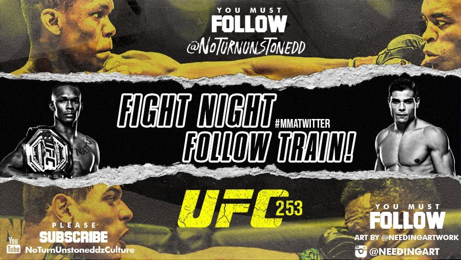 #UFC253 FIGHT NIGHT FOLLOW TRAIN!!🔥💯    1. RETWEET & LIKE this Post. 2. Follow Me, @needingartwork & MMA fans that RT/Like. 3. Drop your fight predictions below. 4. Watch your following grow & connect with new fans!🚆  Watch UFC 4 KO's #1 here!!🔥👉🏼 https://t.co/iOmPQk37B1 https://t.co/685FGUOF3W