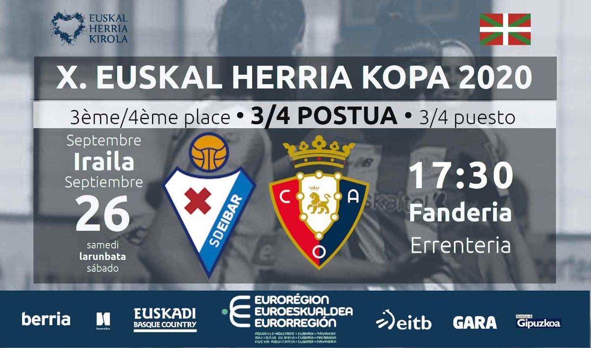 🏆 X. Euskal Herria Kopa 2020 ⚽️  📢 Osasunaren gola! ⏰  Lehenengo zatian... 💥 @SDEibar  0⃣➖1⃣ @caosasuna_eus  ⚽ 🏟️  Fanderia #Errenteria #EHKopa #EHKirola #Futbola https://t.co/lrRvr731xz