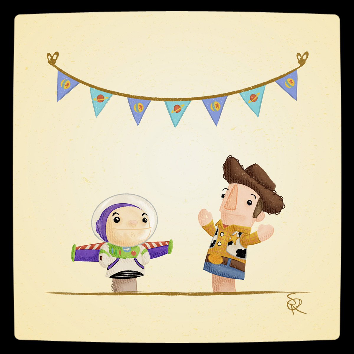 Today's POPpet show guests have a friend in them, literally.  #poppetshow #puppetshow #marioneta #toystory #woody #buzz #buzzlightyear #cowboy #space #vaquero #illustration #ilustracion #cartoon #pizzaplanet https://t.co/4GsLQ1rejE
