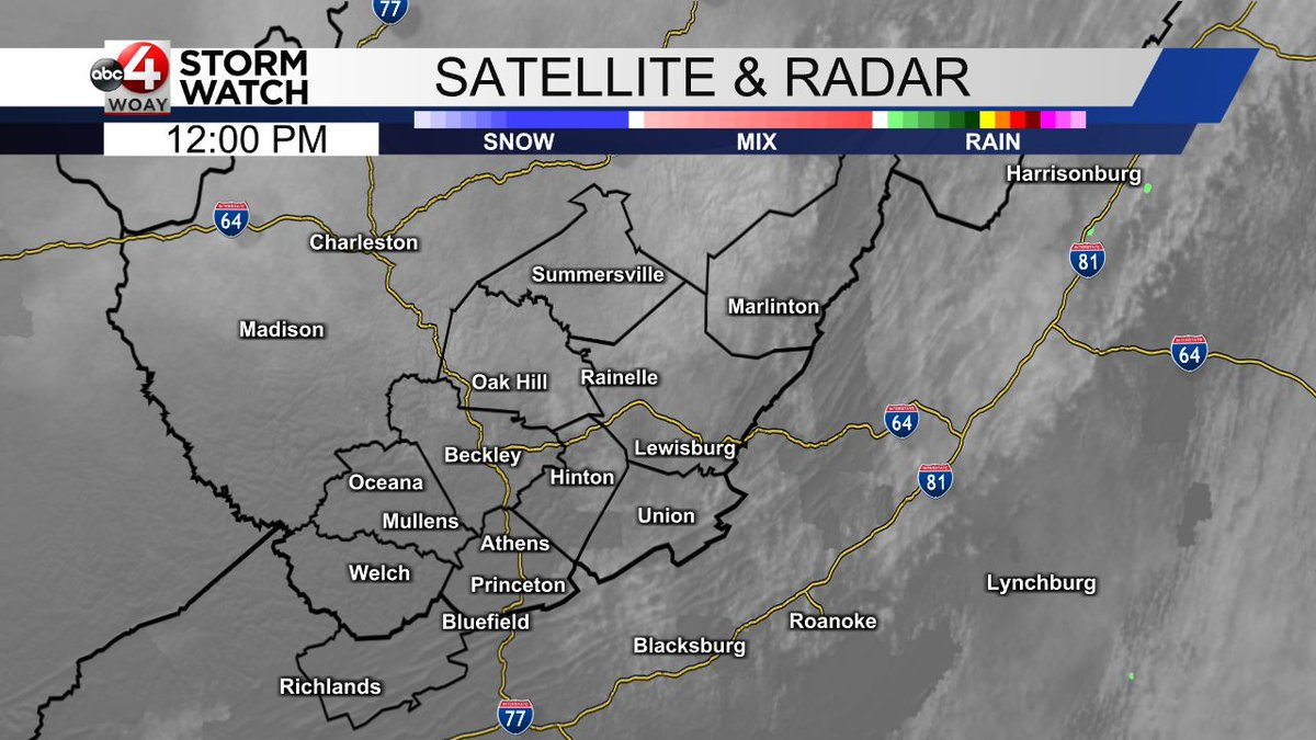 Here is a quick check of the latest satellite and radar data across our area. #wvwx #vawx #woay https://t.co/bVn7YQuNCL