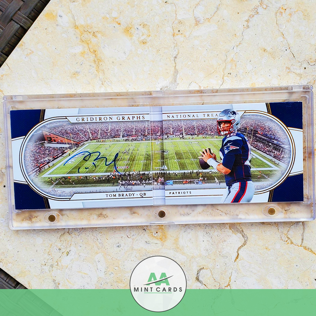 🔥📢Rare card alert!📢🔥 #GridironGraphs National Treasures #Autographed @TomBrady #NewEnglandPatriots card is #Stunning with it's unique articulate #design. Buy this and more at our store: https://t.co/Y4ev4qO2Po . . . . . #aamintcards #mintcondition #Brady12 #TB12 #Patriots https://t.co/jZONzp5ajE