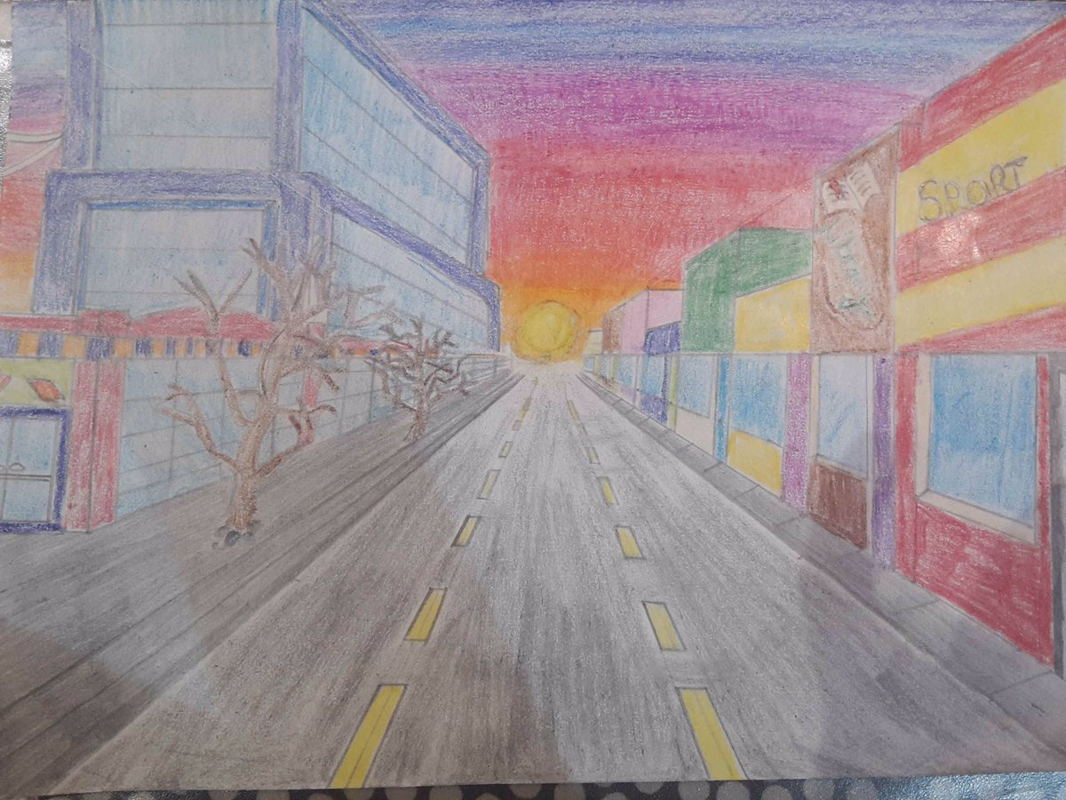 Another amazing one point perspective drawing with careful pencil crayon shading by Maryam Bilal 9.1.Great listening skills too Maryam, well done ⭐️@RastrickHigh  #homelearning #drawingoftheday https://t.co/xgFopulxjj