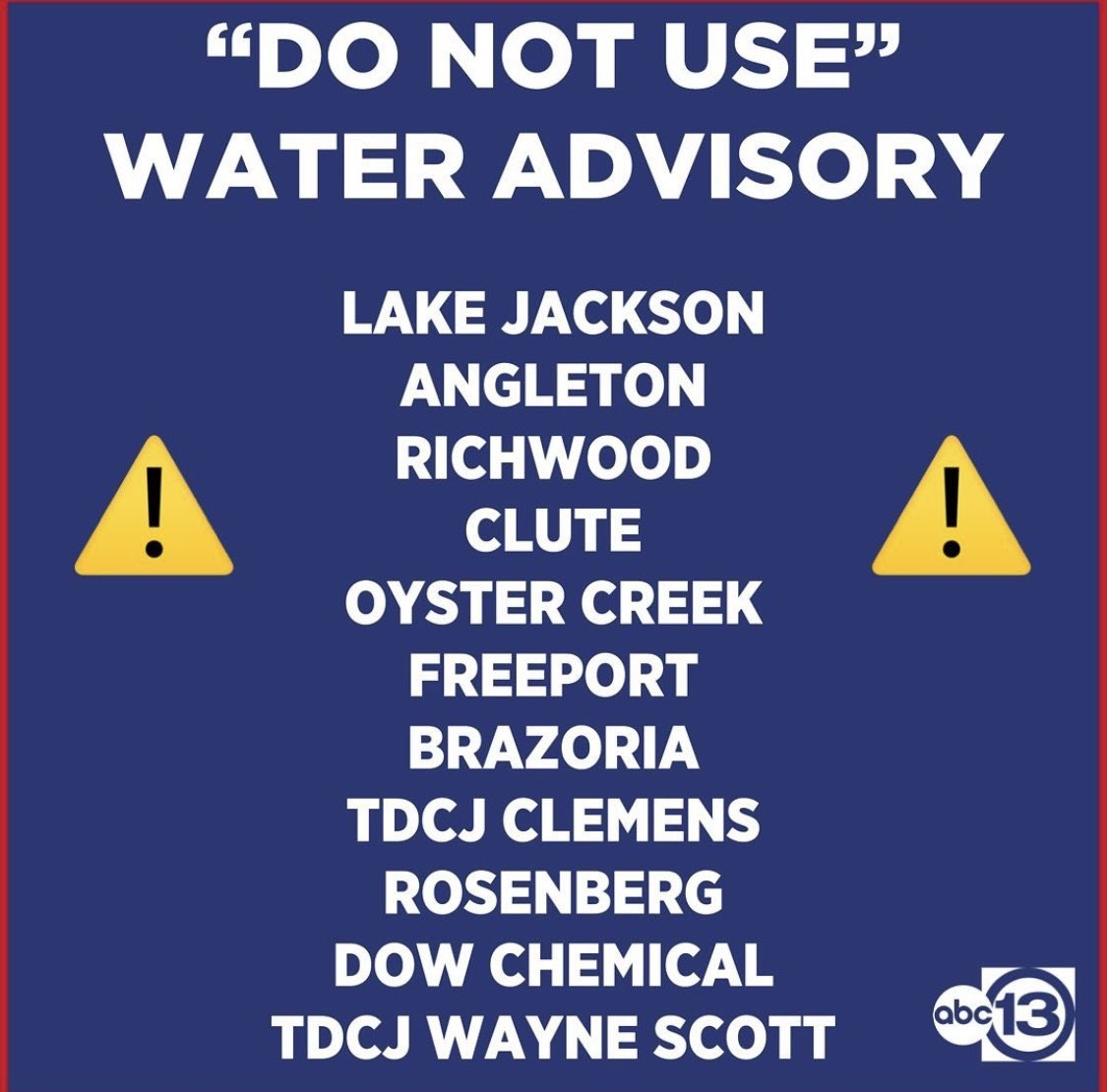 ⚠️WATER ADVISORY⚠️ A brain-eating amoeba was found in the Brazosport Water Supply, prompting a do-not-use advisory for several communities. https://t.co/H1Pi6n7cWO https://t.co/MbRlPsBNKP