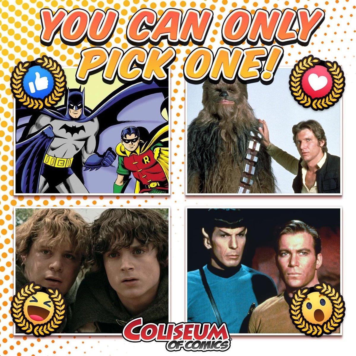 Which dynamic duo would win a three-legged race? #ColiseumOfComics #DCComics #StarWars #LotR #StarTrek https://t.co/5qfhwMpVzJ