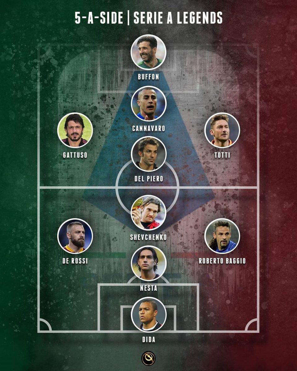 5-a-side   Serie A legends: DEL PIERO's team vs SHEVCHENKO's team 👉  Who wins?    #Buffon #Cannavaro #Totti #Gattuso #AD10  #DDR16 #AlessandroNesta #Baggio #Dida #Shevchenko https://t.co/rbuOYR9yll
