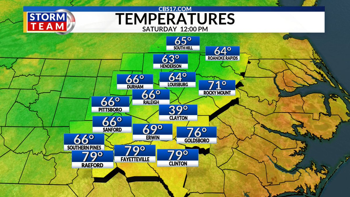 It's lunch time central North Carolina and Southern Virginia! Here is a look at temperatures around the area at noon #ncwx #vawx https://t.co/7EsbvW6NIc