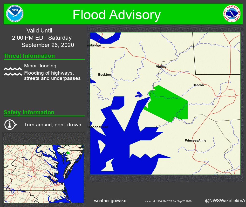 The National Weather Service in Wakefield has Issued a Flood Advisory for Northeastern Wicomico County in Southeastern Maryland. https://t.co/qyhKZkAhal ##vawx #mdwx #ncwx https://t.co/JvdABA6fNq