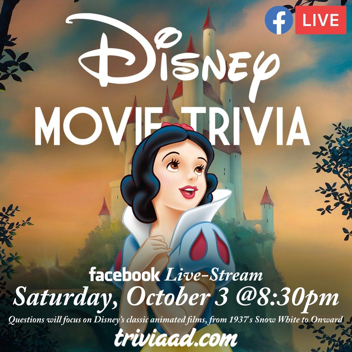 "#Disney (Movie) #Trivia #LiveStream this Saturday, October 3 starting 8:30pm ET. RSVP ""GOING"" to the #Facebook at; https://t.co/s071F27NDS #DisneyMovie #DisneyMovies #Pixar #FacebookLiveStream https://t.co/rjfmemk1Jp"
