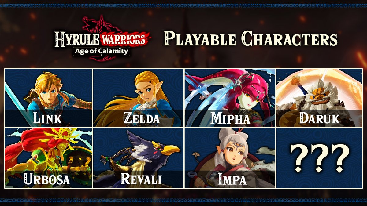 Aero On Twitter So With Impa S Reveal We Know There Are 7 Playable Characters In Hyrule Warriors Age Of Calamity They Did Mention There S Also A Secret 8th Character Who They Haven T