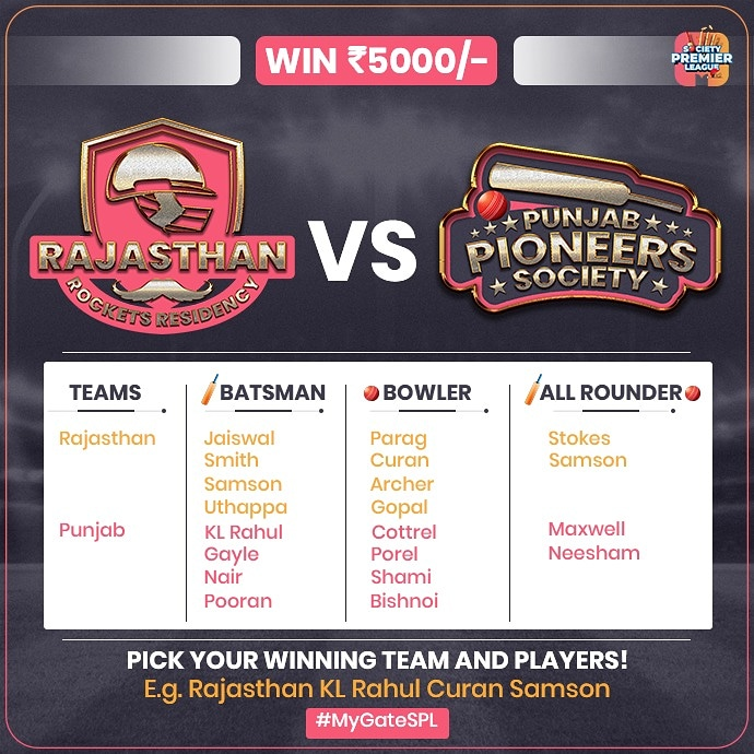 It's play time! 🏏 Comment down below with your predictions for the winner and top players of tomorrow's match. 😄 Tip: Choose one player from each category and don't forget to use #MyGateSPL 😉  #MyGate #SocietyPremierLeague #SPL #IPL #IPL2020 #ContestAlert #Contest  #RRvsKXIP https://t.co/fKL9s73oHD