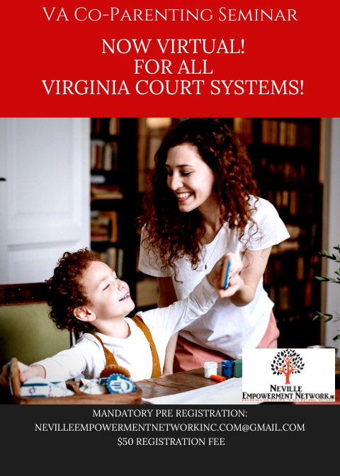 🚨Virginia Coparenting Seminar🚨 ✨October 13th✨  Join the Neville Empowerment Network, Inc. for our VIRTUAL Court-mandated parenting seminar.   *Serving ALL Virginia courts*  Register—> https://t.co/N5WQBdW7VU  #babyyouareloved  #TwoParentsTwoHomes #coparenting https://t.co/CkUBNshlGh