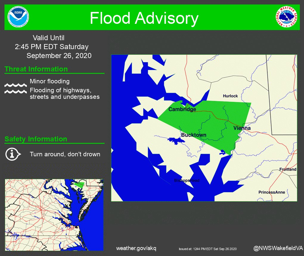 The National Weather Service in Wakefield has Issued a Flood Advisory for Northeastern Dorchester County in Southeastern Maryland. https://t.co/QzXX1rjjcj ##vawx #mdwx #ncwx https://t.co/qTxVb2IYuS