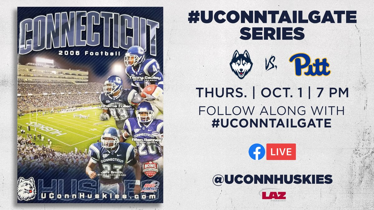 Join us next Thursday for a rebroadcast of our game against Pitt from November 11, 2006! Rebroadcast will air on @UConnHuskies Facebook Live. Get featured during the game by tweeting along using #UConnTailgate! https://t.co/cM2mil8MPd