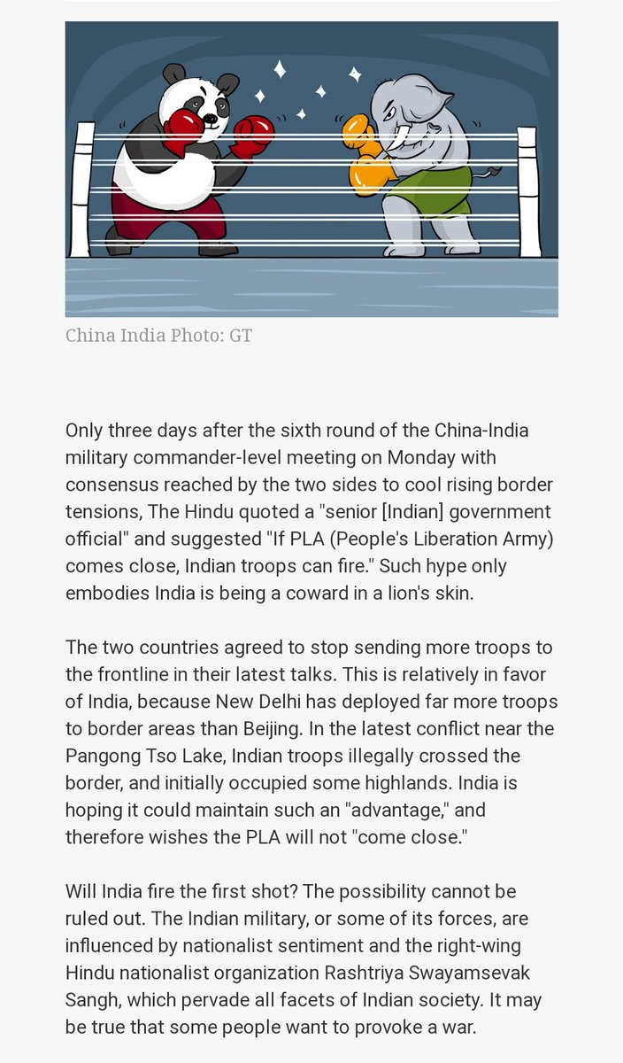 Today's Article published in the #ChineseCommunistParty  owned #GlobalTimes   clearly showing the true face of China. It shows how much chinese are afraid of #indianarmedforces  😂 Not to forget their soldiers crying in bus. #Cryingchinesesoldiers https://t.co/bW5iAgqqbv