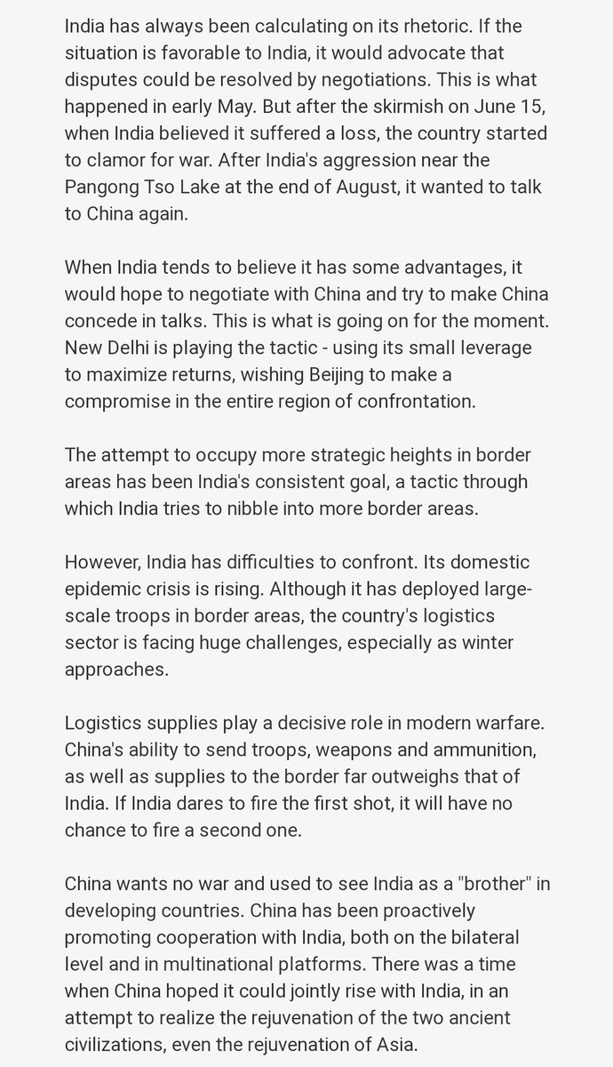 #indianarmedforces  is fully capable and ready to give beffiting reply to any chinese aggression. #LADAKHSTANDOFF. U can't talk about peace, growth and development without strict disengagement of troops in all friction points.💯 https://t.co/vKS9xsv8OF