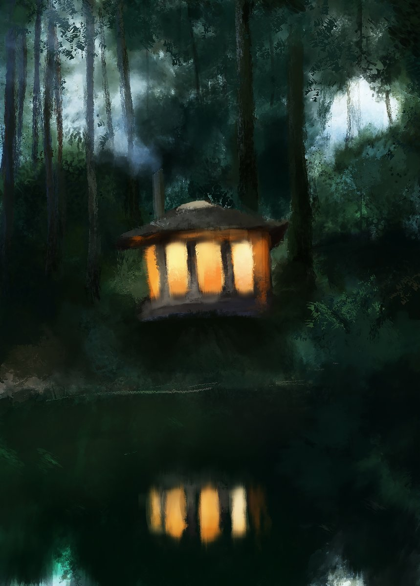Today's photo study, cabin in the woods I have never painted foliage very well so I gave it a shot, tried to make it more stylized than usual and fucked it up a bit I think   Anyway learnt some stuff..  #digitalart #cabin https://t.co/SGGOEDbt9V